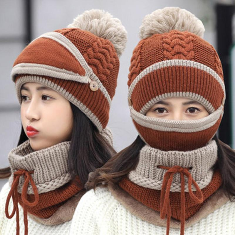 Зима Женская Шляпа Шарф маска Set Вязаная уха Protect Beanie шлема плюша теплая зима женщин Фуражка