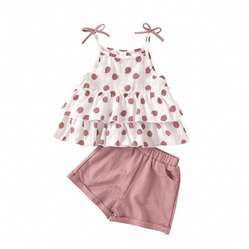 Niño de la niña de la ropa del verano para niños muchachas de los niños de la correa sin mangas arco riza Tops Pantalones cortos Pantalones sólidos conjuntos de equipos del bebé 3BI5 #