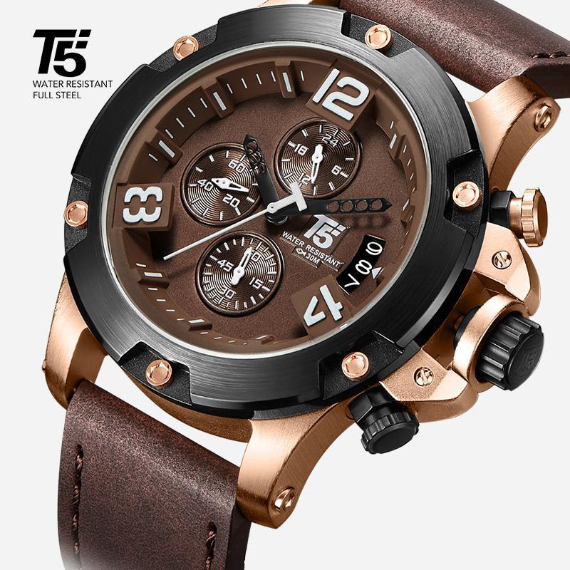 가죽 스트랩, 남성용 핑크 T5, 럭셔리 블랙 쿼츠 타이머, 방수, 남성 스포츠 시계, 남성 시계
