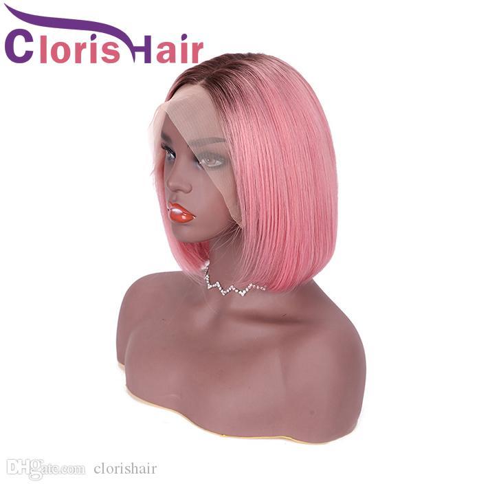 1B Pembe Renkli 13x4 Dantel Ön Kısa Bob Peruk Siyah Kadınlar Için 150% Pixie Kesim Ombre İnsan Saç Düz Perulu Remy Tutkalsız Frontal Peruk