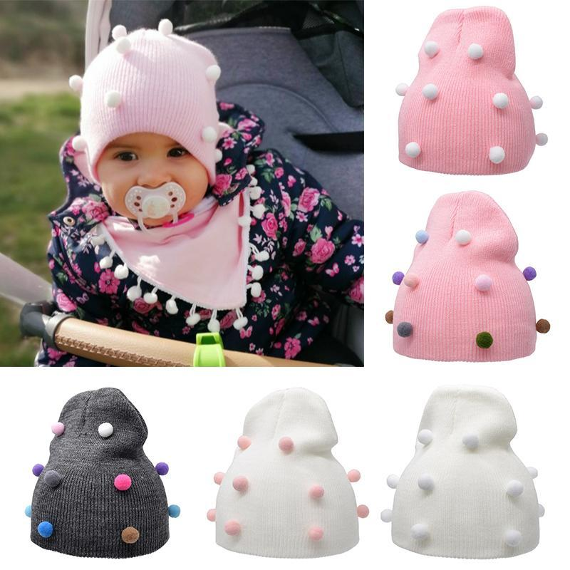 Caps & Hats 2021 Arrival Winter Baby Hat Plush Knitted Warm Beanies Cute Colorful Ball Child Crochet Cap Wholesale