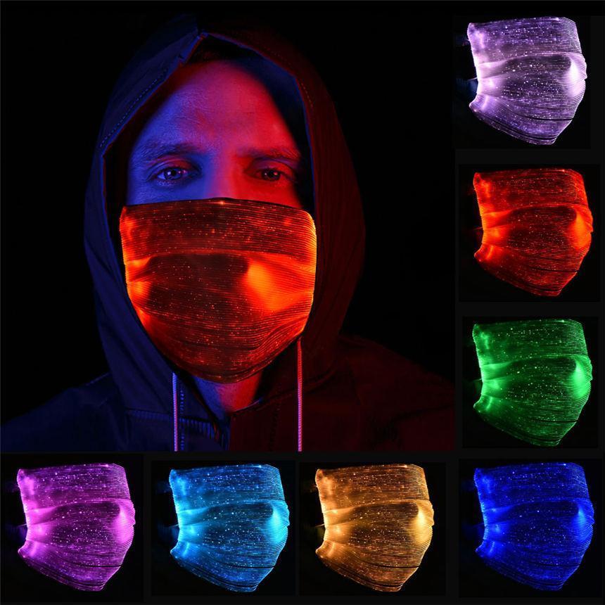 Mode Masque Glowing Avec PM2,5 filtre 7 couleurs Masques LED lumineux visage pour la fête de Noël Festival de mascarade Rave Masque Décoration