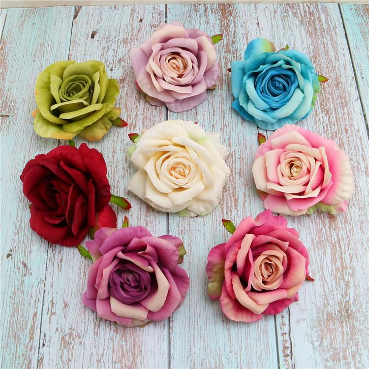 وردة الاصطناعي رؤساء زهرة الحرير الزخرفية زهرة حزب الديكور الزفاف جدار زهرة باقة بيضاء الاصطناعي الورود باقة FFD4101