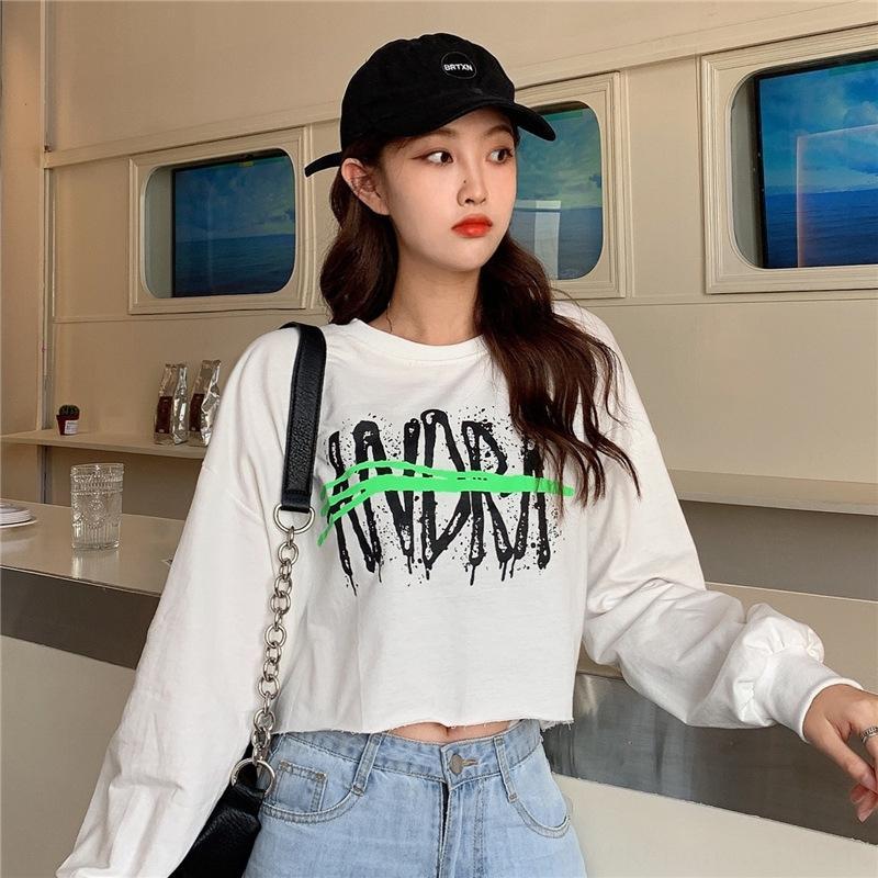 Der Frühherbst 2020 Frauen der koreanischen Buchstaben gedruckt kurze lange Ärmel Top-Mode-Top Coatstudent beiläufige Größe Frauen tragen n83UG