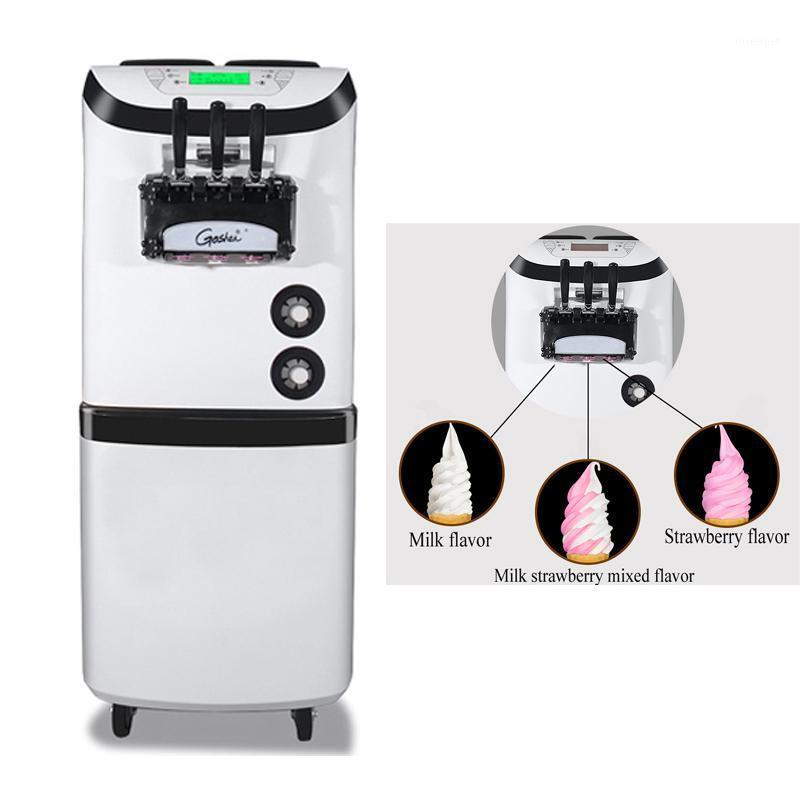 Helado Making Machine Commercial Three Flavors Maker para tiendas de postres Máquina suave vertical móvil de acero inoxidable