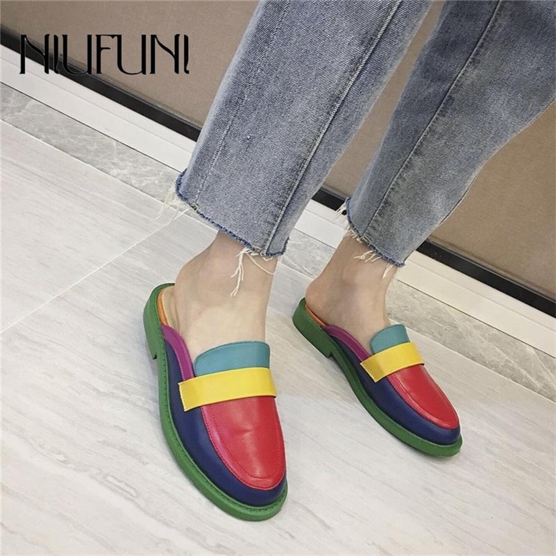 Niufuni мода радуги цвет женские тапочки неглубокие случайные скольжения круглые головки плоские ботинки на 2020 лет летом пляжная обувь LJ200903