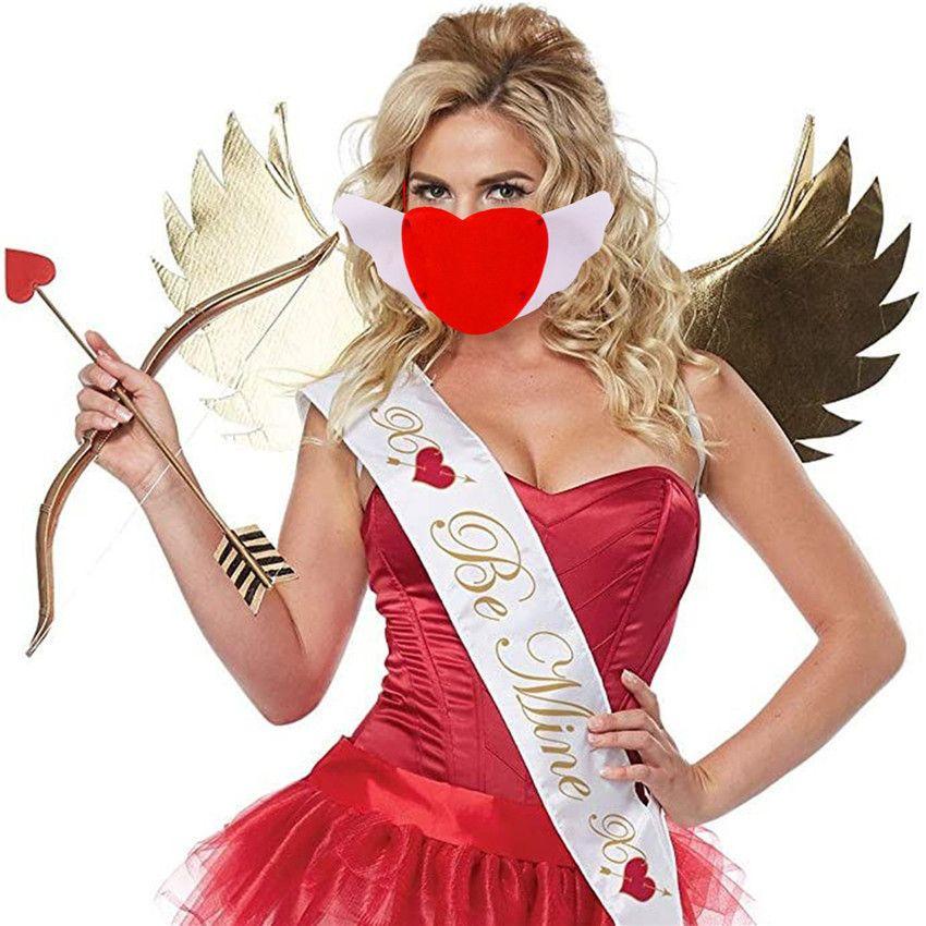 2021 Valentine's Day Love Mask Designer Romantic Face Masks Space Cotton Love Heart Mask Adult Couple Dustproof Adjustable Mouth Mask H12002
