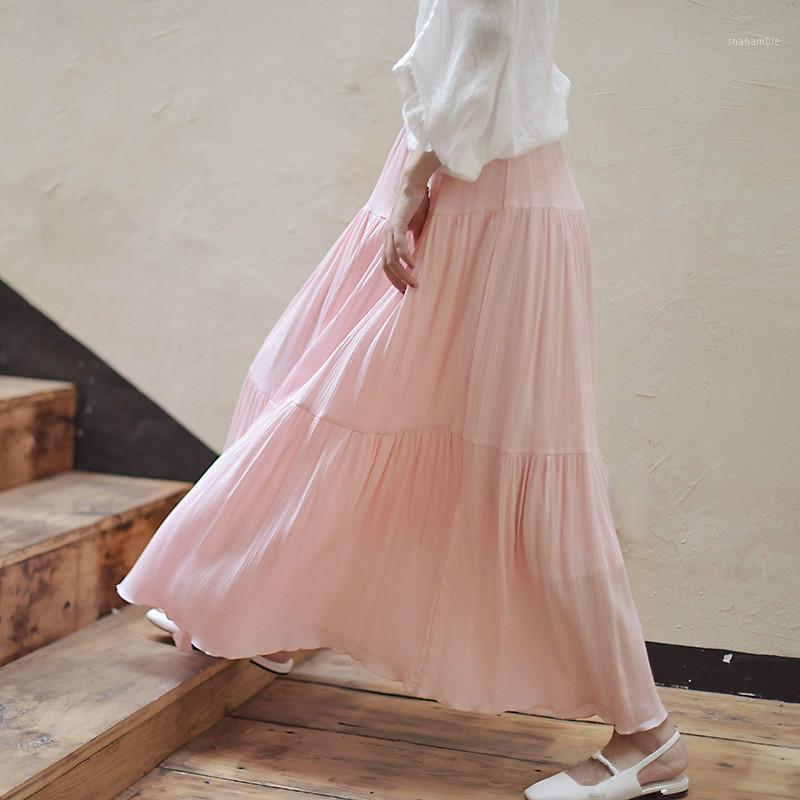 Юбки женские чистые твердые морщины хлопчатобумажные этнические этнические линейные качели юбка летняя эластичная талия длинный макси тонкая розовая плиссированная винтажная юбка1