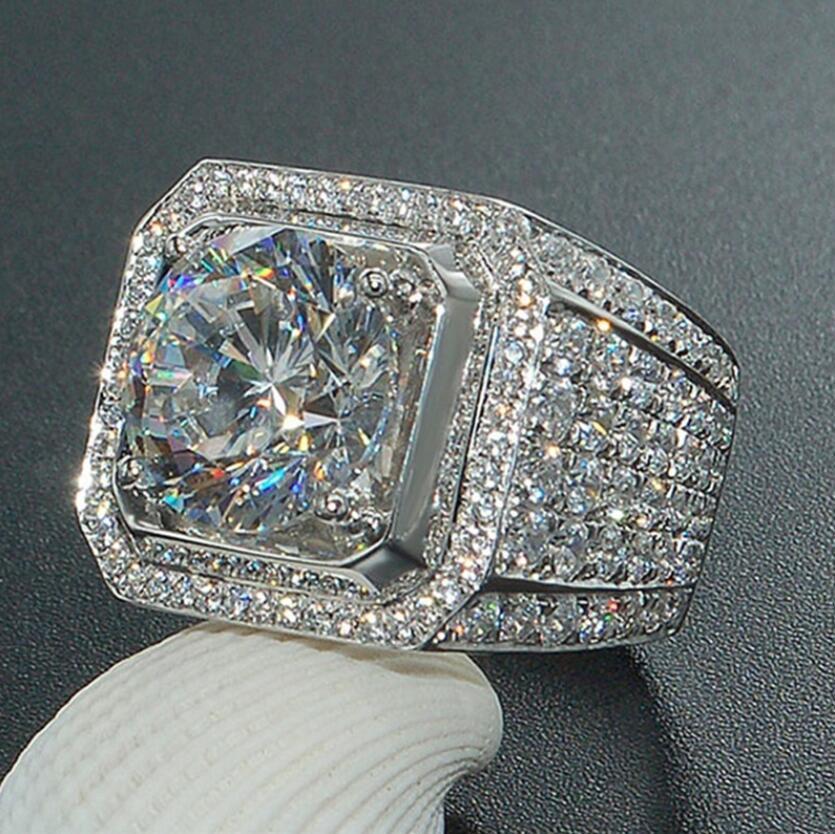 Tam Kristal Büyük Zirkon Paslanmaz Çelik Yüzük Adam Moda Erkek Signet Yüzük Gümüş Buzlu Düğün Bantları