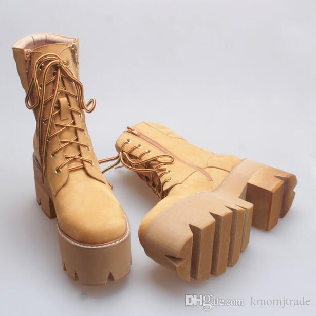 Zapatos Jeffrey mujer del cuero genuino de la plataforma Senderismo Botas estilo de Nueva Inglaterra Campbell botas de Martin