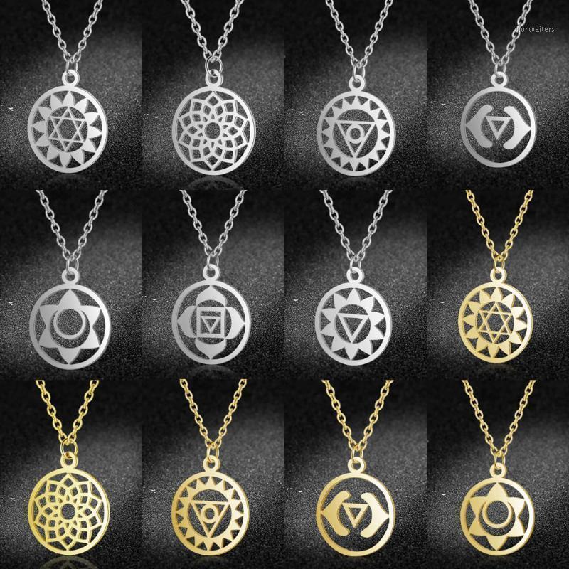 Ketten lavixmia authentisch edelstahl schmuck 7 chakra halskette großhandel weiblich zierlich boho lotus charm halsketten drop1