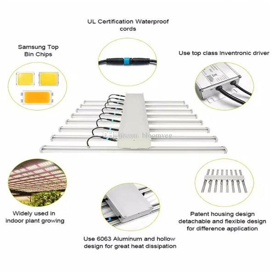 640w 8bars Yields up to 3.75 Lbs LED grow light Model E use281b diodes offer high efficacy and harvest