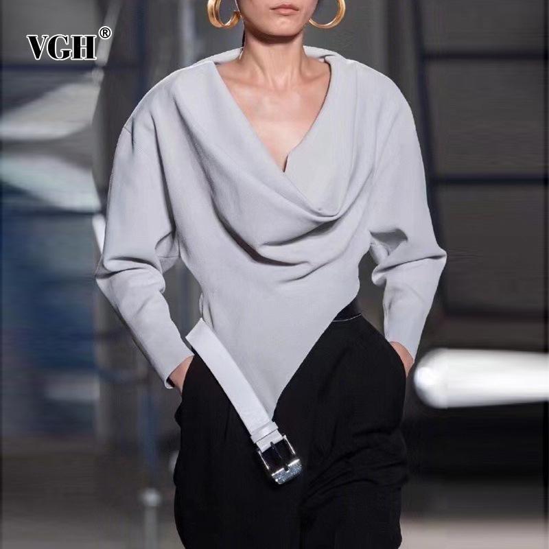 Shirt increspato T casuale VGH per le donne V Long Neck maniche pipistrello Patchwork Cinture allentato asimmetrico Hem magliette femminile 2020 stile
