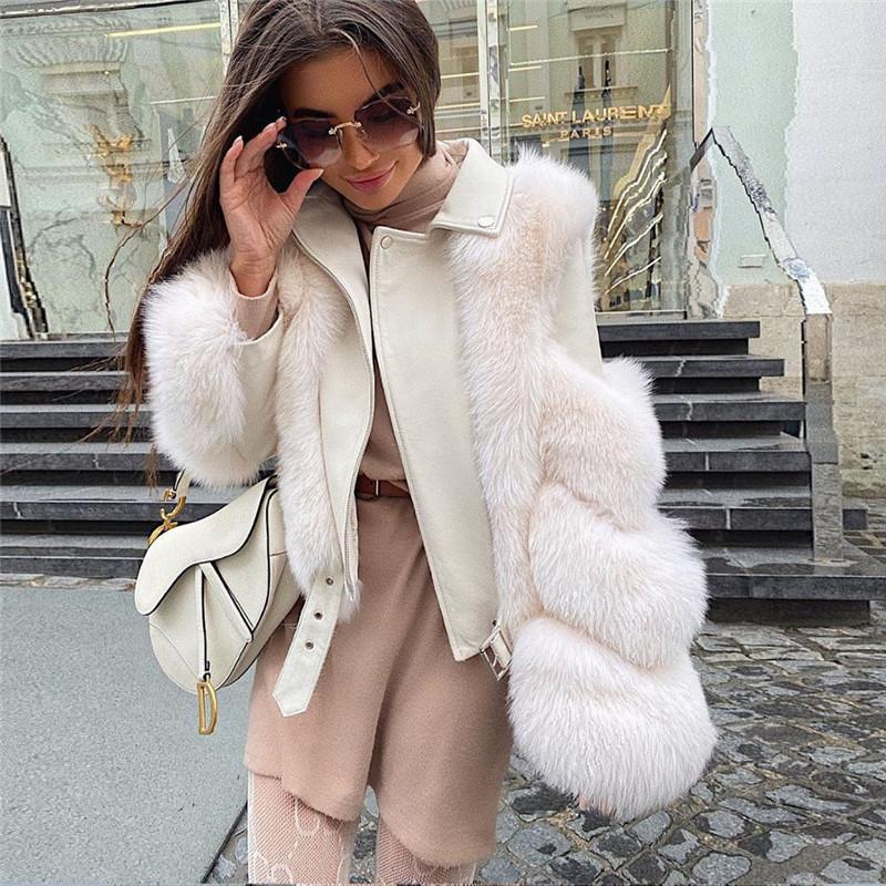 Moda Fox Kürk Palto PU Koyun Derisi Ile Deri Toptan Çevre Fox Kürk Ceket Dış Giyim Lüks Kadınlar Kış Yeni Dış Giyim 201029