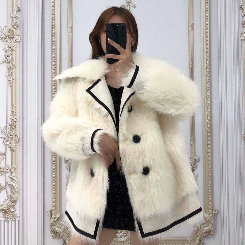 Women New 2021 Autumn Winter Fashion Faux Coats Female Double Breasted Fake Fur Jackets Ladies Thick Warm Casual Overcoats S657