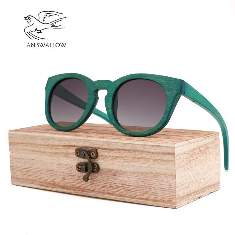 Мужские солнцезащитные очки UV400 2020 Mens Polarized Bamboo Green Fashion Szrees Sun Brand Design Sollow Sunglasses Retro Mirror Lens Женщины Criat