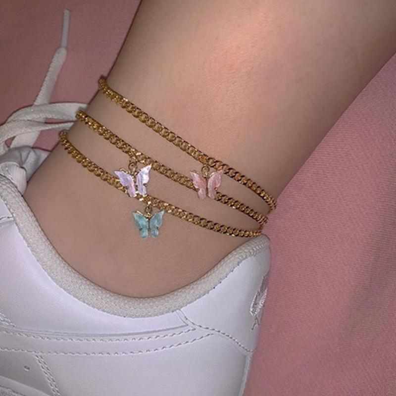 encanto de borboleta cadeia tornozeleira praia do verão ouro tornozelo cadeia de pé jóia da forma pulseira vontade e dom de areia