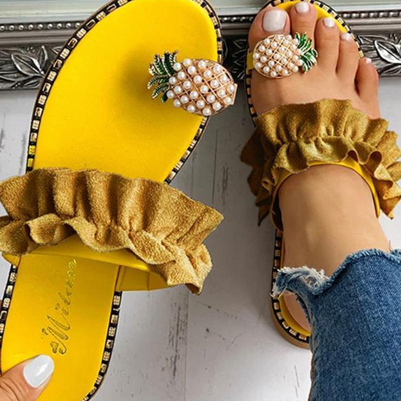 Mujeres Sandalias Zapatos Zapatos Flip Flops Flops String Bead Moda de verano Cuñas Mujer Diapositivas Piña Lady Casual Mujer1