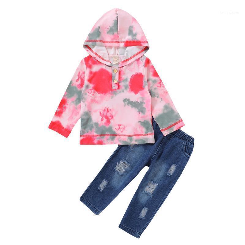 Baby Boys Girls Rainbow Tie-dye Hoodie Sweatshirt Tops+ripped Jeans Set Long Sleeve Fall Winter Clothing Ropa De Bebé1