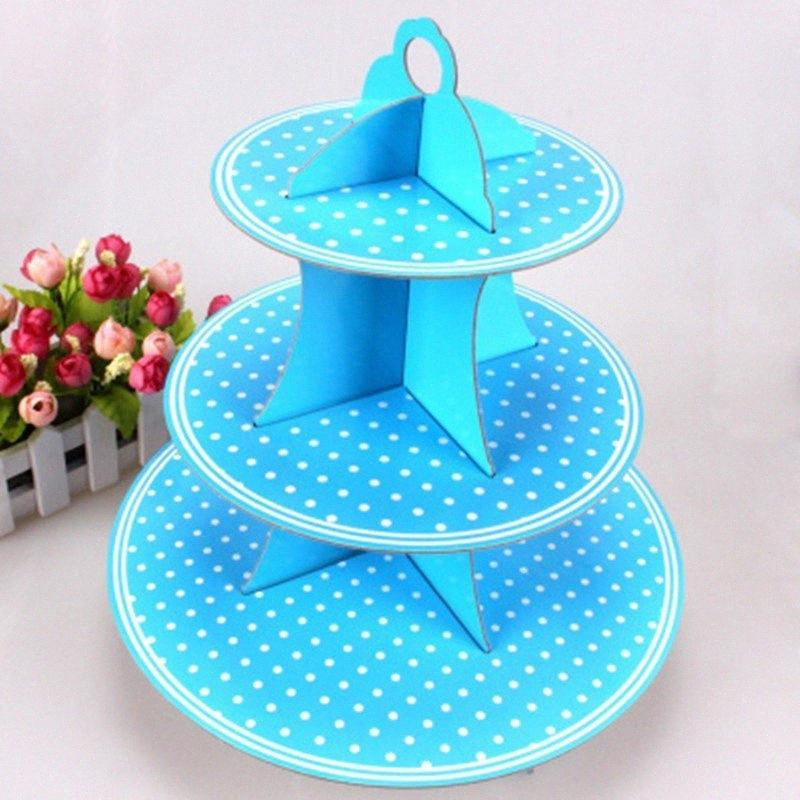 1pcs\lot Kids Favors 3 Tier Cake Stand Blue Polka Dots Birthday Party Cupcake Holder Decoration Cardboard Baby Shower Supplies 8E7J#