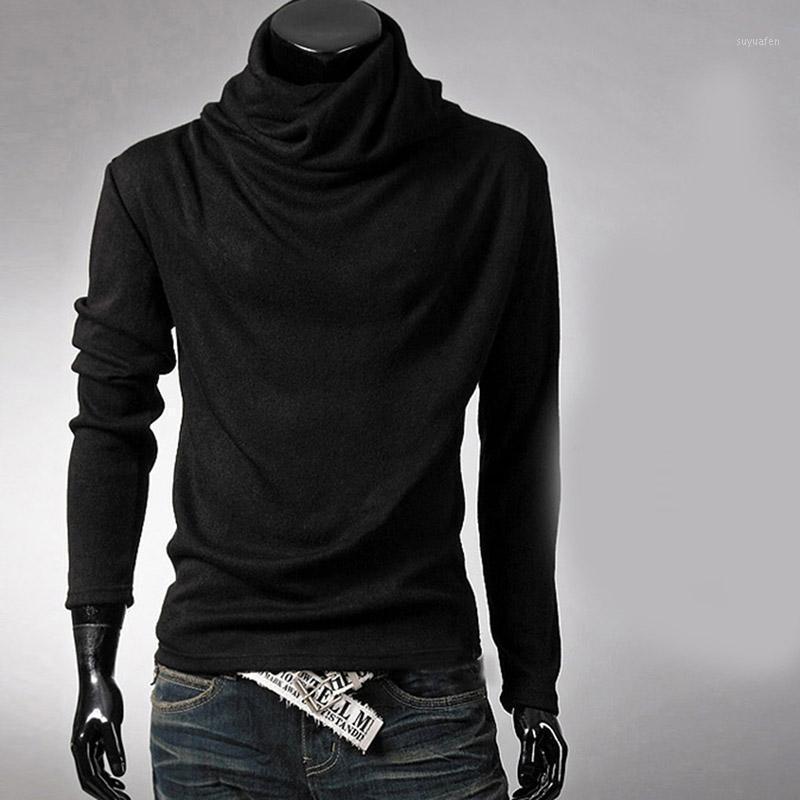 Nueva moda hombres ropa tops tees hombres cuello alto camiseta negro camiseta casual t shirt color sólido manga larga slim fit t shirt1