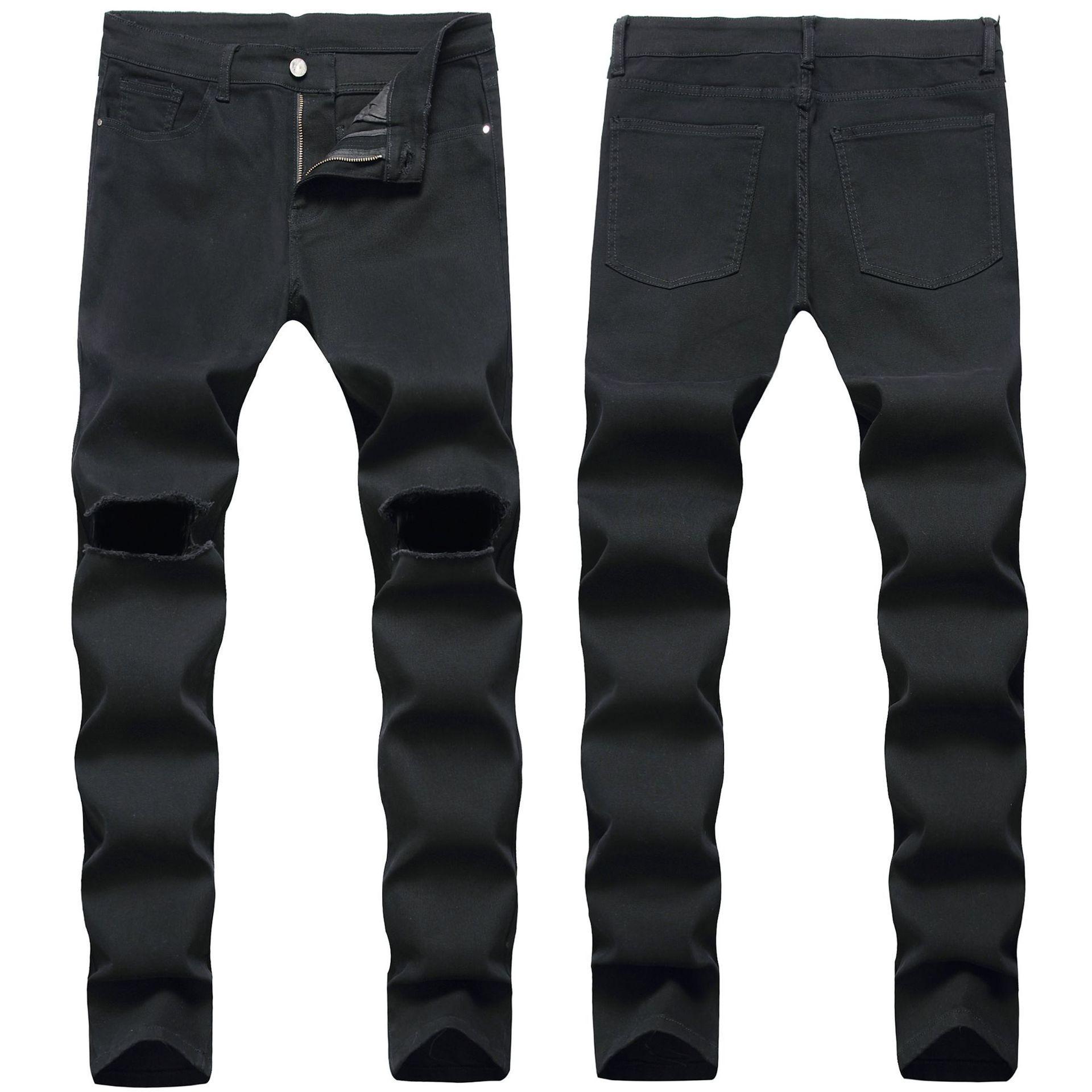 Sıska Erkek Siyah Kot Serin Erkekler Yırtık Delik Kot Streç Slim Fit Denim Biker Jeans Hip Hop Erkekler Streetwear 1122 #