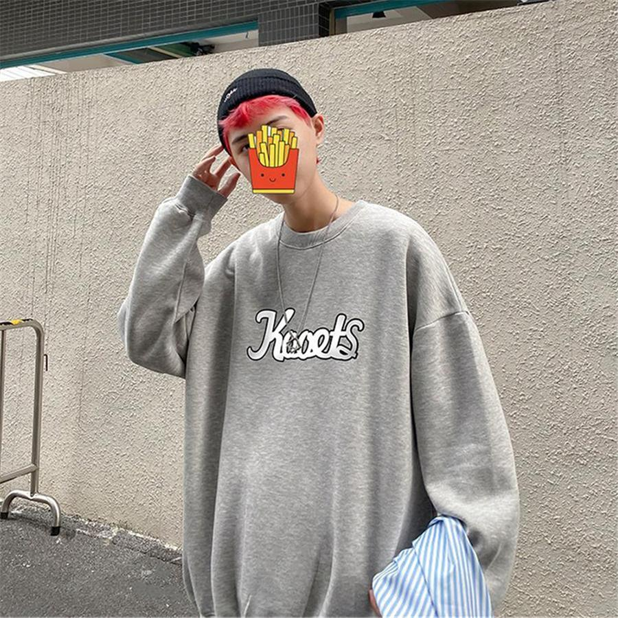 Лучшие новые осень / зима в одиночку популярные печатные и бархатные круглые шеи oodie для мужчин студентов корейской версии T-Sirt oodies # 406 # 774111111