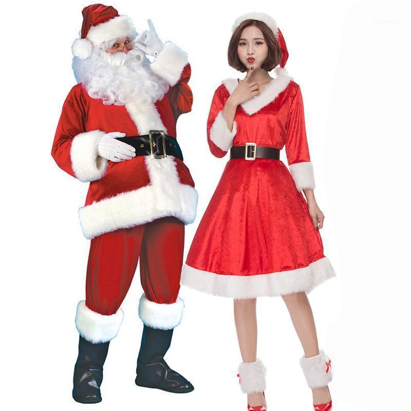 4 / 7шт Рождество Санта-Клаус косплей костюм набор шляпа + борода + верхние брюки ремень перчатки кожаные ботинки 7 в 1 купить полный набор