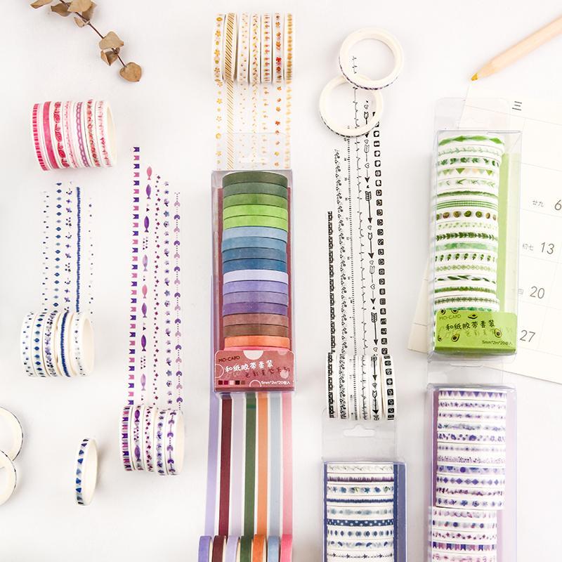 20 volumi colorati solido washi nastro set fai da te decorazione carina scrapbooking pianificatore nastro adesivo nastro adesivo adesivo adesivo adesivo adesivo