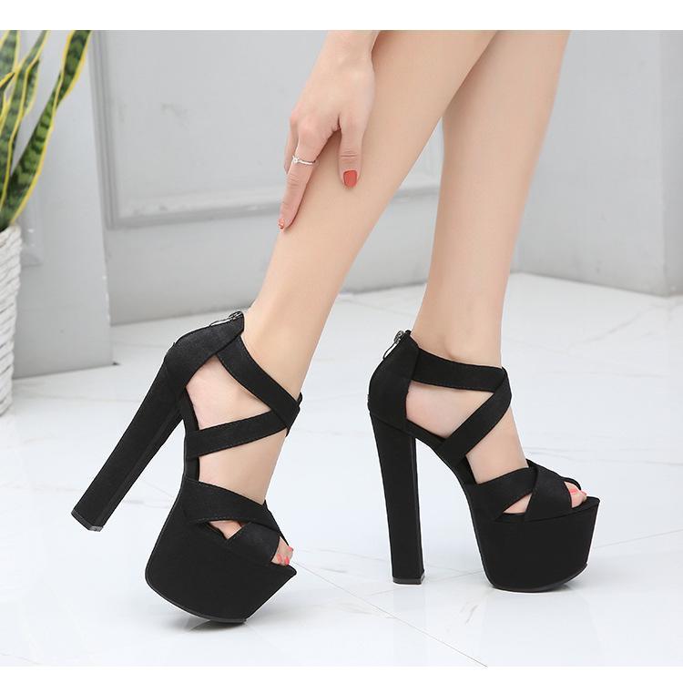 Damenschuhe 17 cm Super High Heel Block Ferse Sandalen Hass Himmel High Black Heels mit Rückenreißverschluss