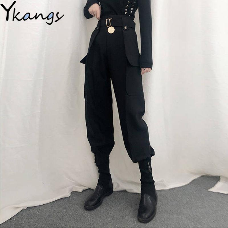 Con tasche a bottone della cintura pantaloni merci slim donne vita alta vita vintage harajuku streetwear harem pants gotico qualità pantaloni femmina 201106