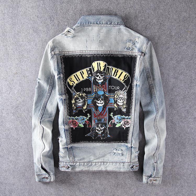 Harajuku Gelegenheits Rocker GNR Stamp Gewaschene Blendungen Jahrgang indigoblaue Jeansjacke Rock Sweatshirt Guns N Roses Street zerstören