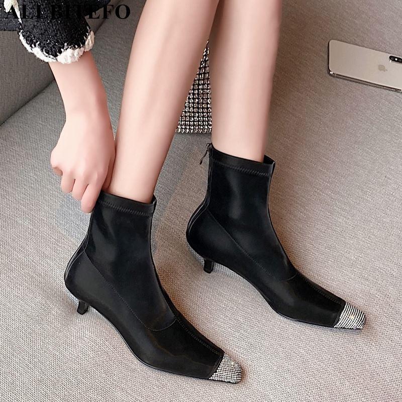 ALLBITEFO diamantes de imitación del dedo del pie zapatos de tacón alto atractivo de la boda de las mujeres botas con punta cuadrada señoras de la oficina tacones finos zapatos botines para las mujeres