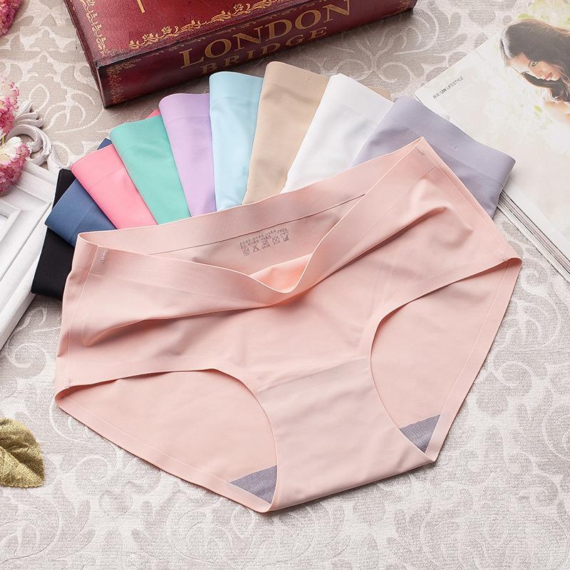 Ropa interior de seda para mujer para bragas sin costuras Set de cintura de cintura media mujer 3pcs Lencería calzoncillos calzoncillos