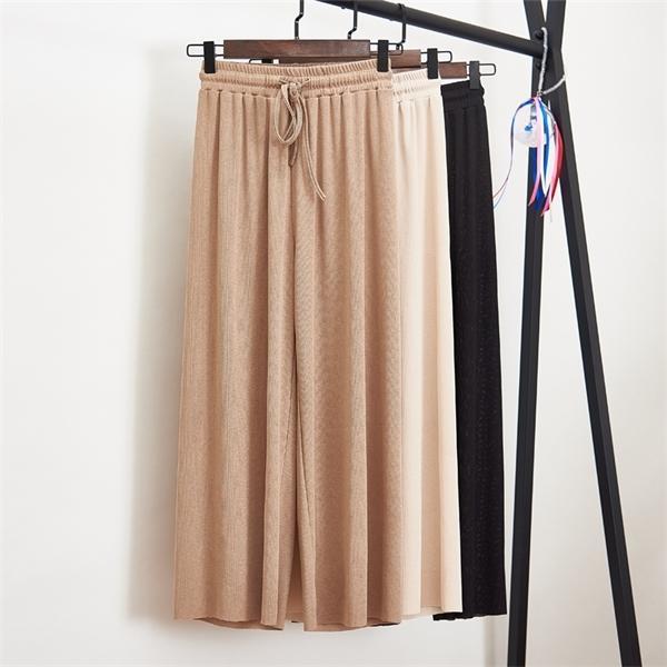 Femmes d'été mince tricot pantalon noir à jambe large en vrac longueur cheville Pantalon taille élastique Plus Pantalon taille S-4XL C1111