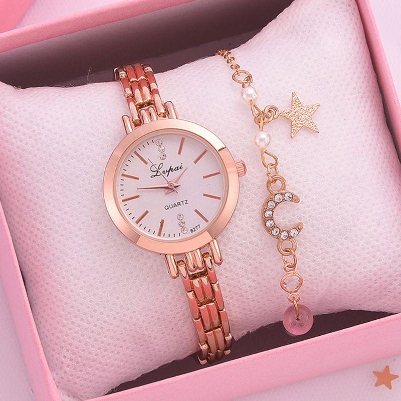 LVPAI Marke 2 stücke Set Watch Frauen Armband Mode Frauen Kleid Damen Armbanduhr Luxus Rose Gold Quarzuhr Set Reloj Mujer