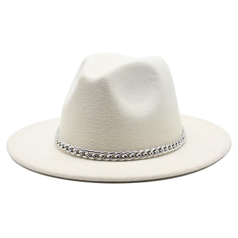 2020 High Quality Wide Brim Fedora Hat Women Men Imitation Wool Felt Hats with Metal Chain Decor Panama Fedoras Chapeau Sombrero C0123