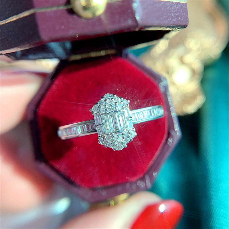 2020 Anéis para as Mulheres Sterling Silver Square Cubic Zirconia nupcial do casamento Fine Jewelry Romântico anel de noivado