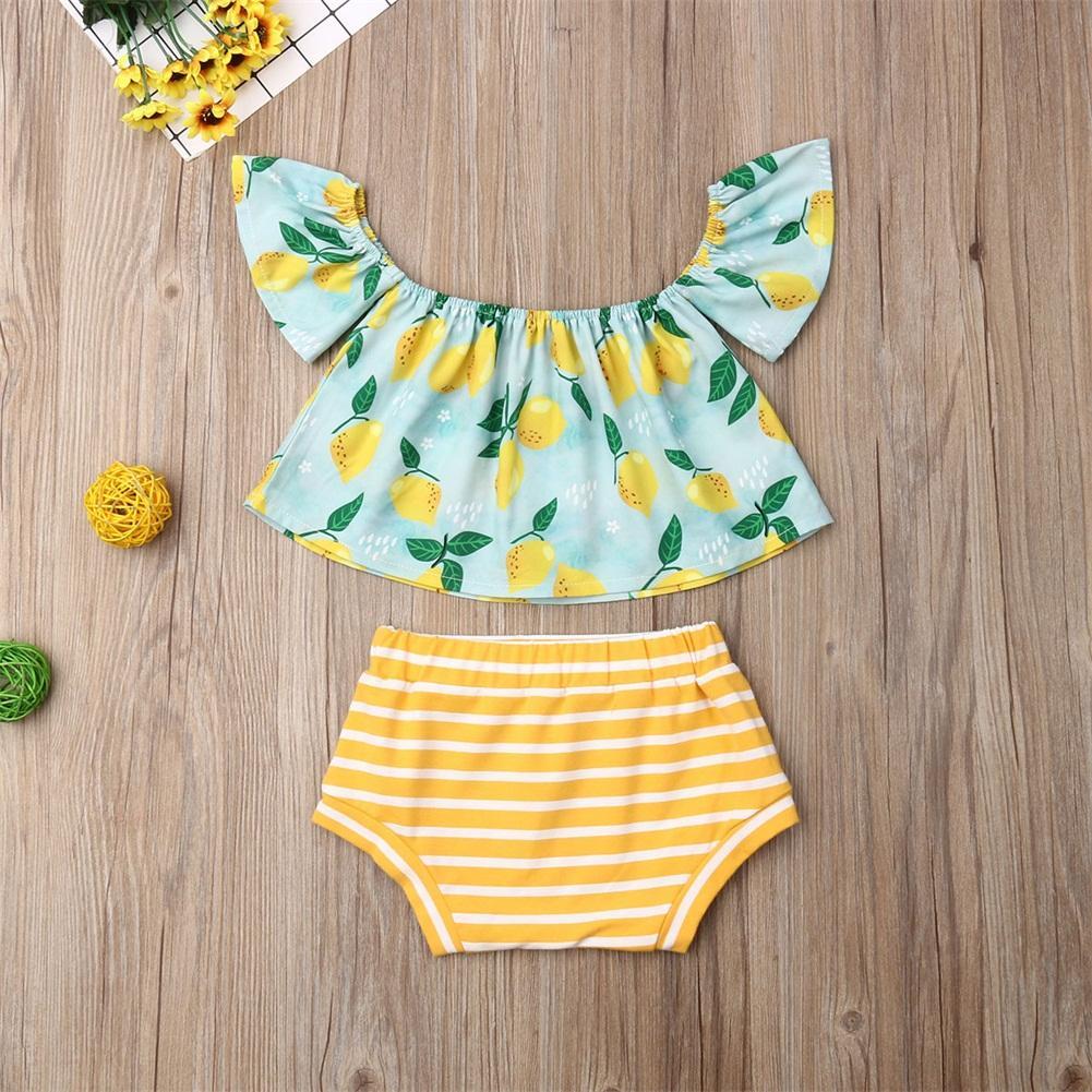 1-6Y Summer Toddler Kids Baby Girl Clothes Sets Lemon Print Off Shoulder Top Shorts Pants Outfit Set