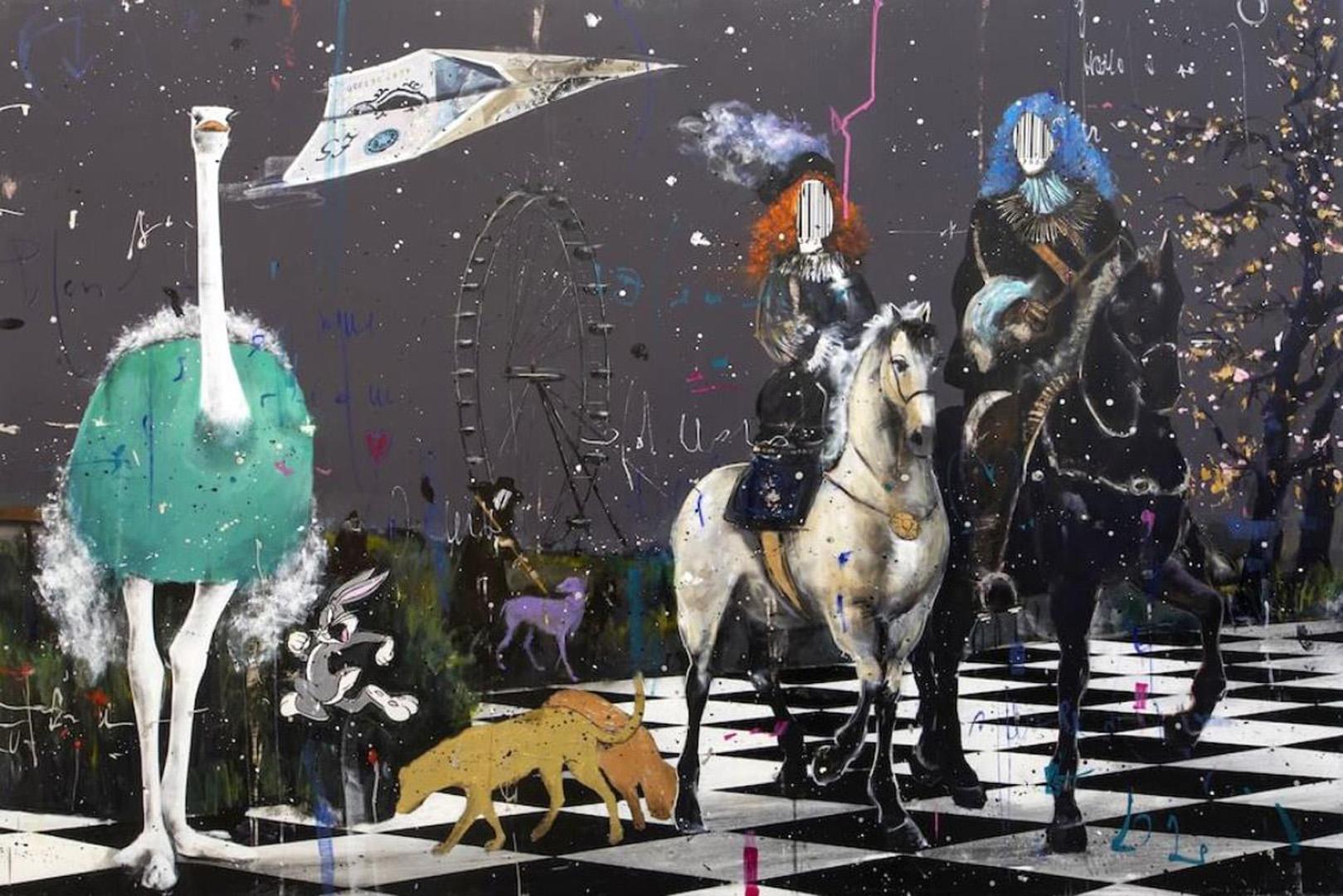 Angelo Accardi codé sur les chevaux à la maison Décoration à la main peintures à l'huile d'impression HD sur toile Mur Art Picmes 201223