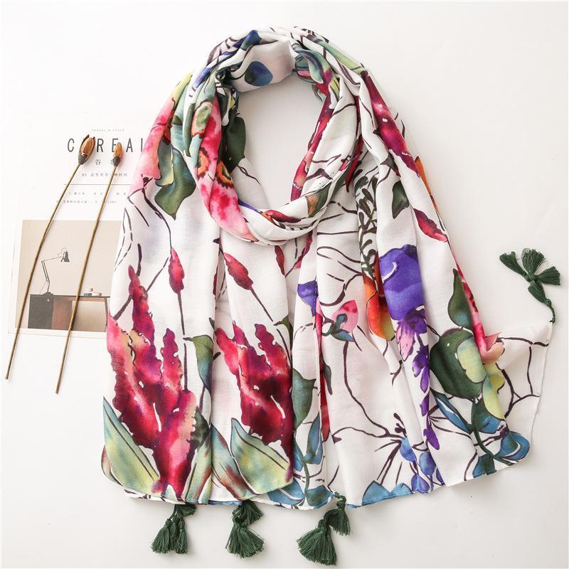 Nuevo patrón de flor de la bufanda larga de las señoras de las mujeres pañuelo para la cabeza antumn Chales de invierno y Envolturas suave Bandana Foulards 180x90cm