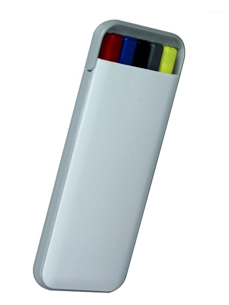 أقلام حبر جاف الجودة 5 في 1 حالة مجموعة القلم، بما في ذلك القلم الميكانيكي، 1 علامة تمييز، 3PCS القلم الحبر الملون (الأزرق والأسود والأحمر) 1