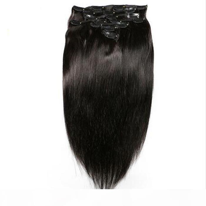 مقطع الشعر في الإنسان آلة صنع ريمي الشعر كامل رئيس مجموعة 7PCS الطبيعية البكر كليب سميكة في الشعر التمديد