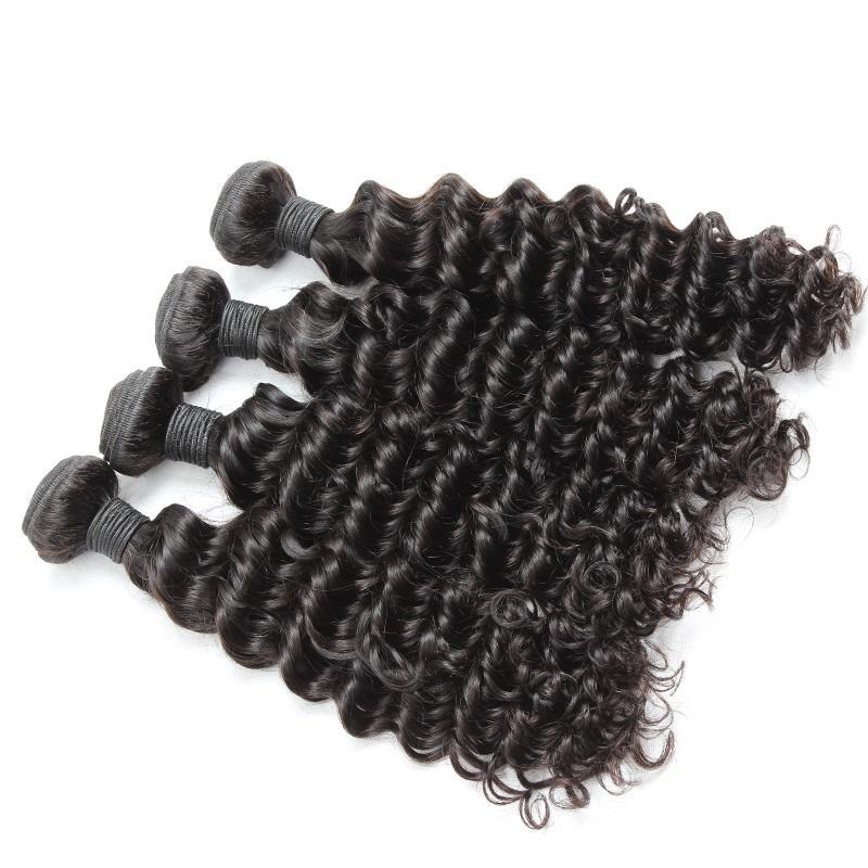 Бразильские волосы Weaves Wefts Virgin человеческие волосы наращивания волос Deep Wave Pair Gair Double Weft 4PCS / LOT Натуральный черный падение