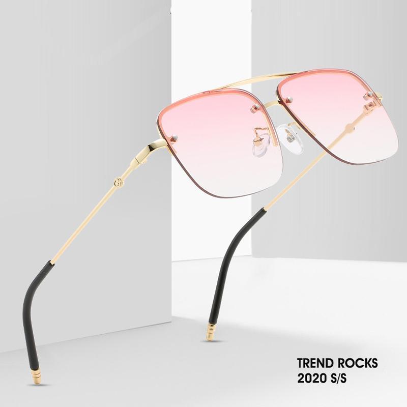 AOZE2020 Quadrat-Sonnenbrille-Frauen-Qualitäts-Art- Halb Rahmen Rahmen Marke Steigungs-Sonnenbrille für Frauen UV ins Beliebte