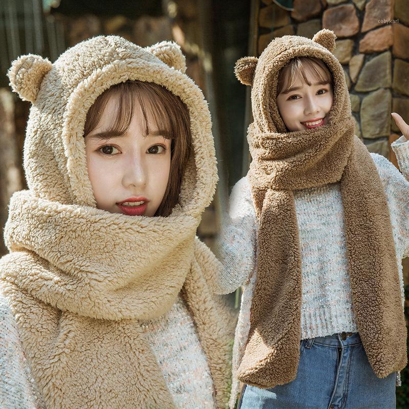 2020 Fasion Winter Women Novità Caps Caldo Carino Orso Ear Cappello Casual Casual Cappello Cappello Sciarpa Set Guanti Casual Solid Fleece Women Caps1