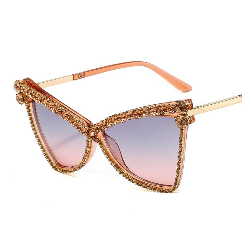 2020 femmes surdimensionné Vintage Cat Eye lunettes de soleil de luxe strass Shades mode hommes Lunettes de soleil oculus