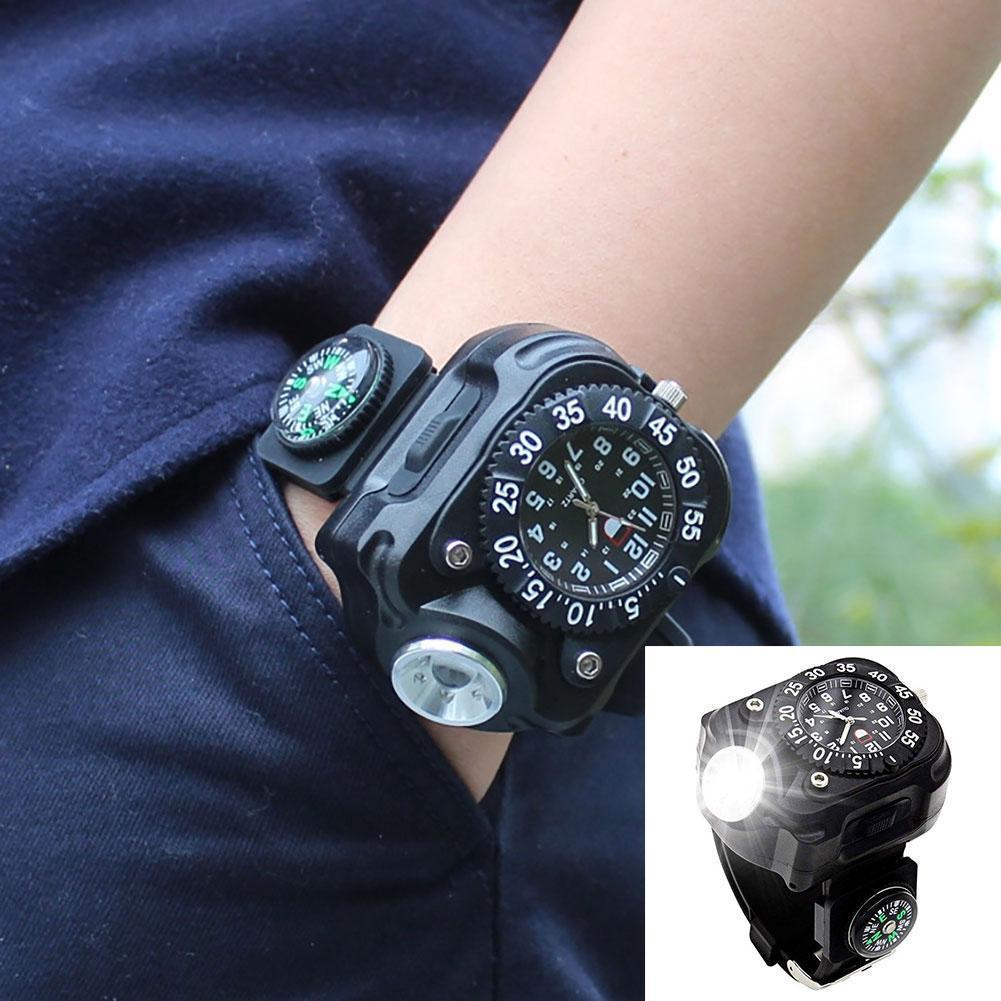 3-en-1 deportes al aire libre de la linterna recargable LED brillante reloj del compás de lujo de los hombres de los relojes reloj de mujer