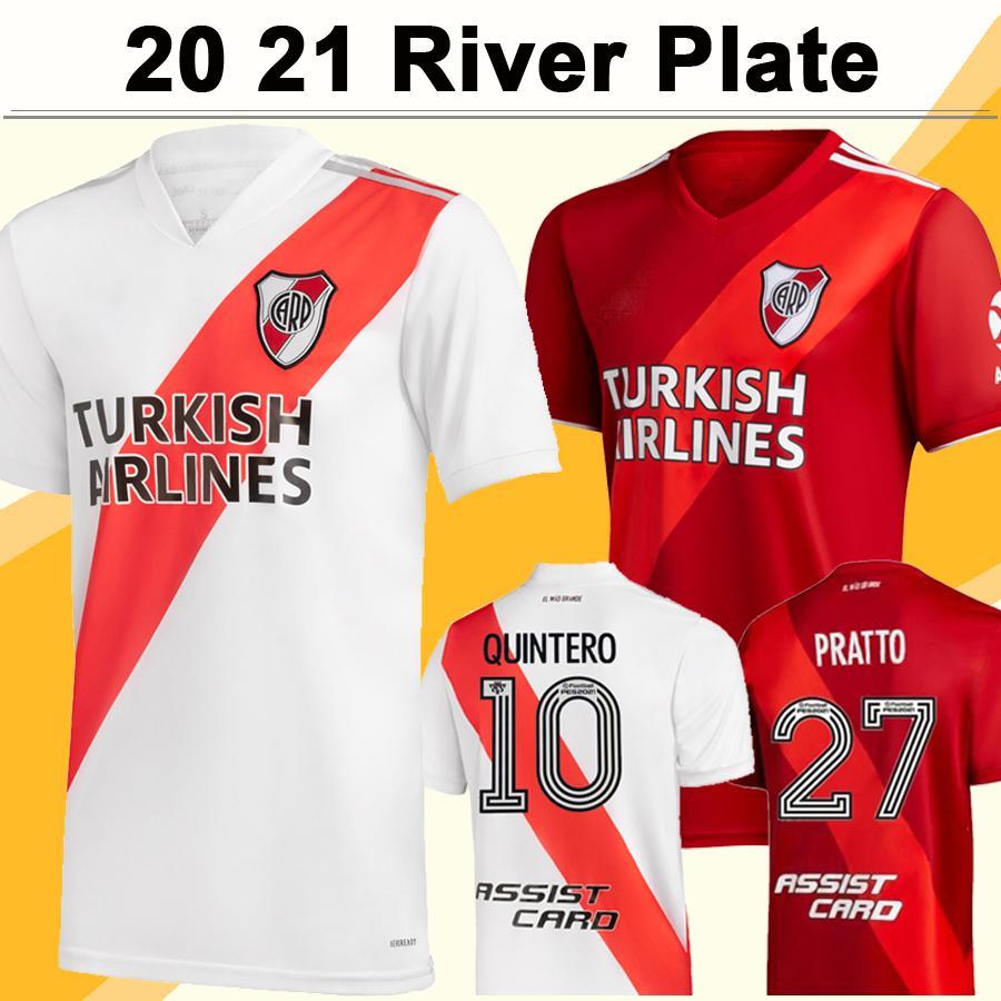 20 21 River Plate Mens Soccer Jersey New J. ALVAREZ BORRE PRATTO PINOLA PONZIO PEREZ Home White Away Red Football Shirt Short Sleeve