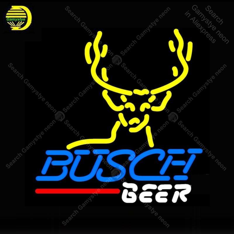 NEON SIGN Per Busch cervi del dollaro NEON Bulbi Segno lampada reale tubo di vetro Decora Beer Bar Camera Artigianato Artwork pubblicità luce al neon
